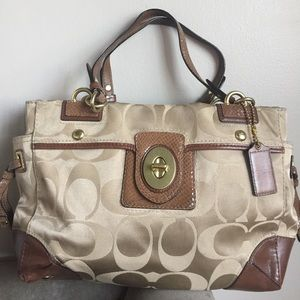Authentic Coach Golden Shimmer Beige Logo Tote